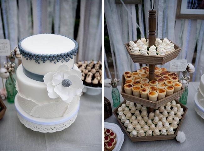 modern wedding cake and mini desserts
