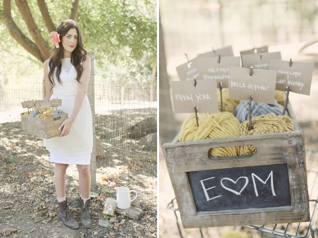 yarn wedding place cards