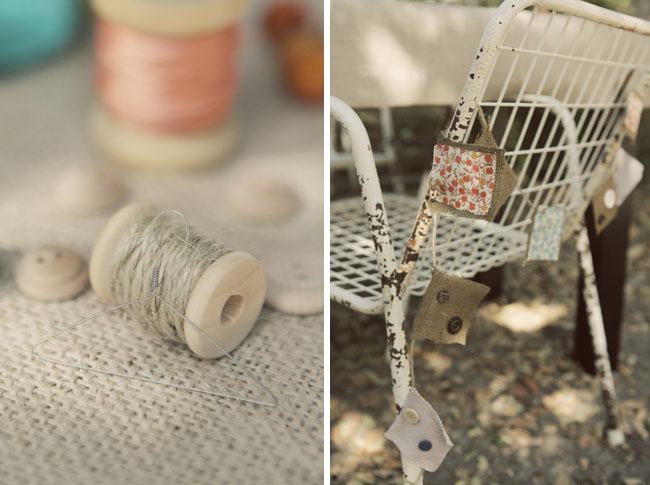 spools of thread wedding details