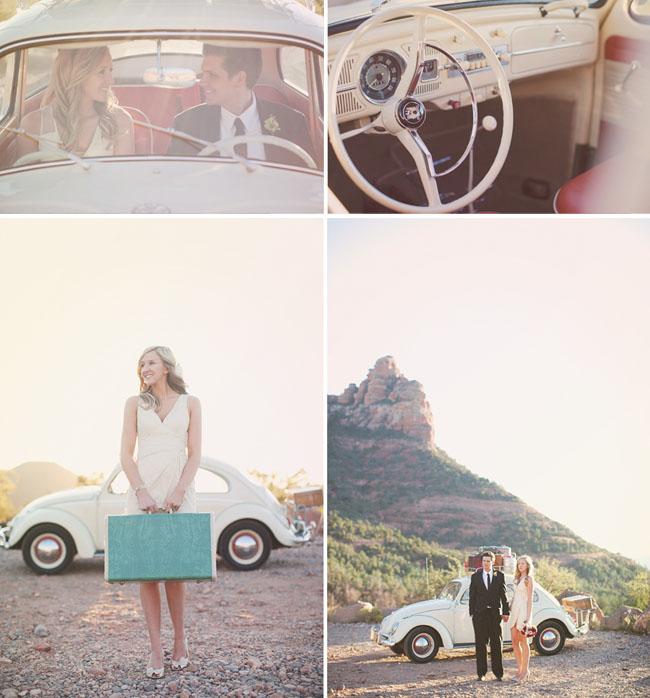 bride with vintage suitcase bug