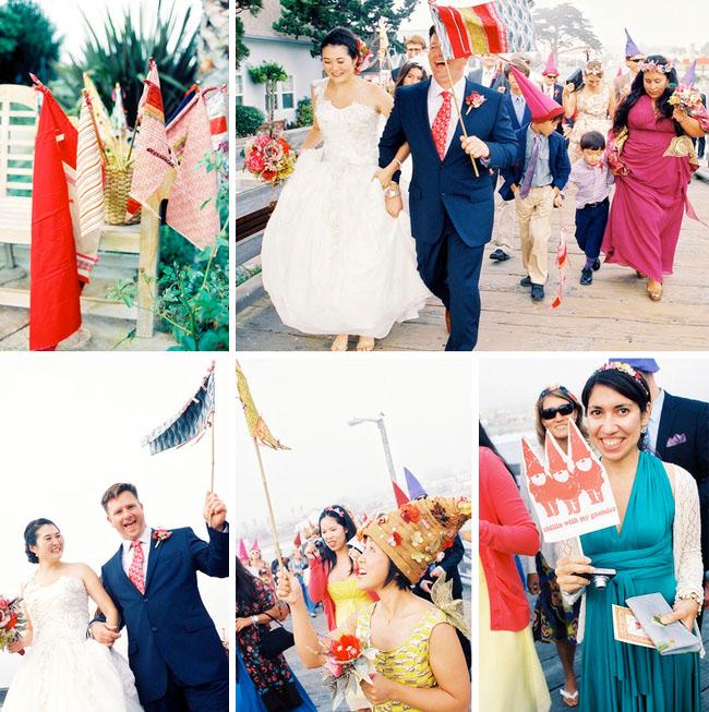 whimsical wedding parade