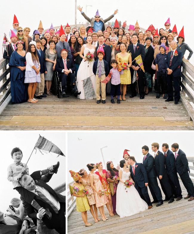 gnome hats wedding photos