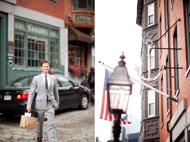 Boston wedding groom on the way