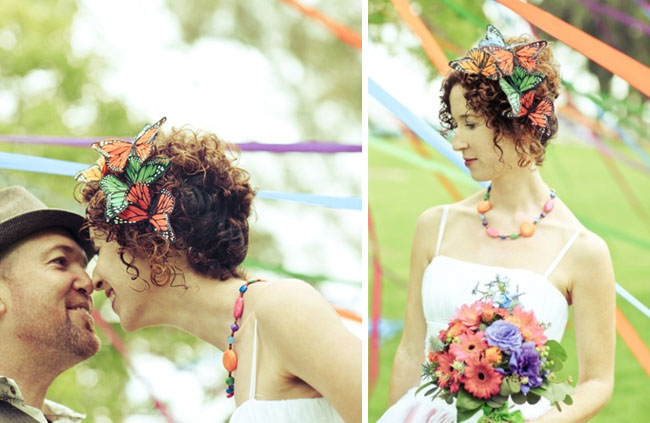 bride with butterfly headpiece
