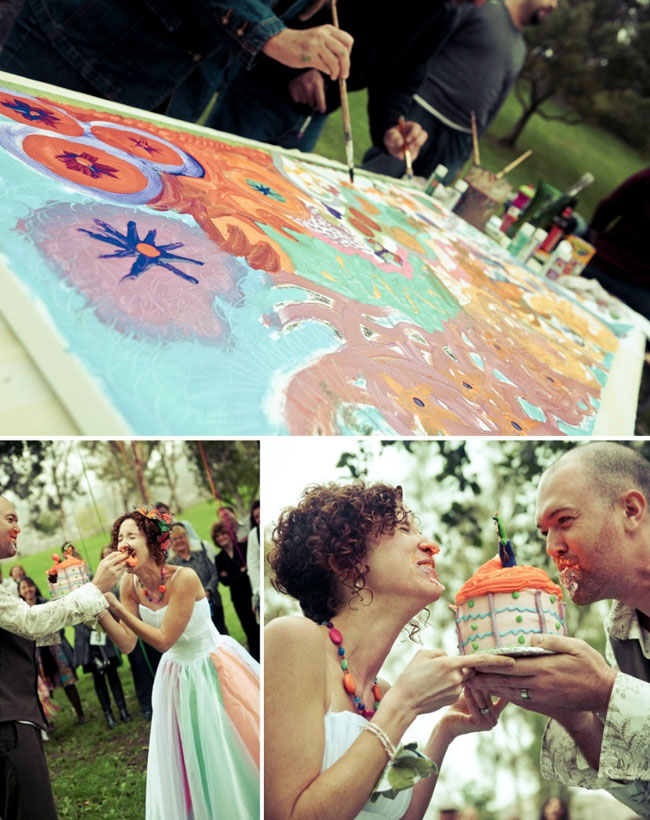 wedding painting at reception