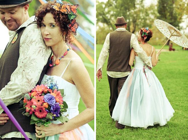bride with butterflies in hair