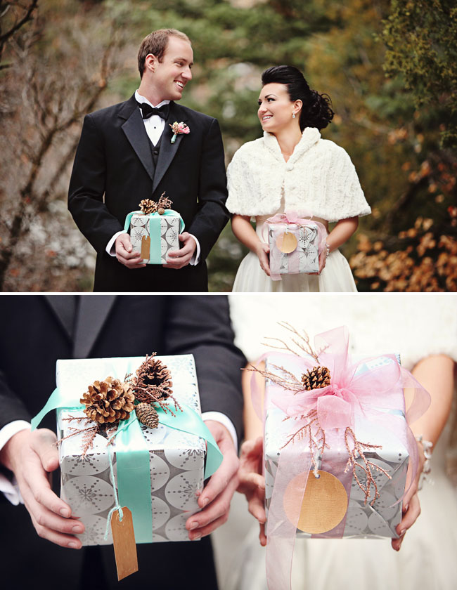 bride and groom with presents