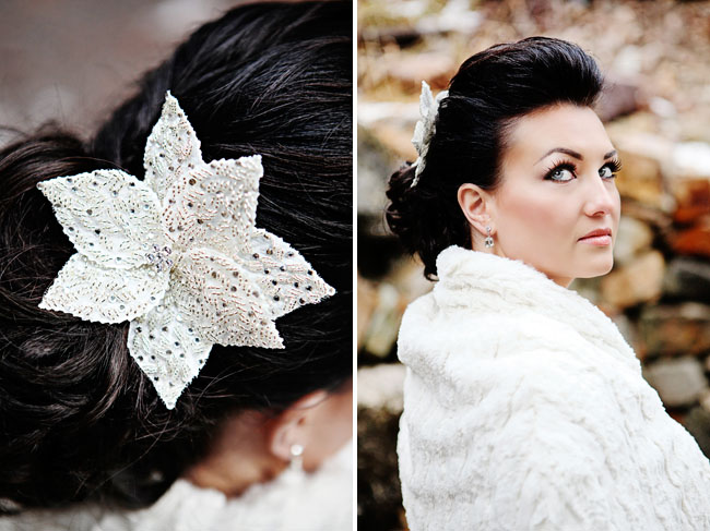 bride with sparkly flower in hair