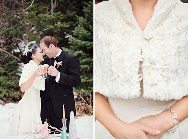 bride with fur wrap