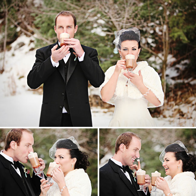 bride and groom with hot chocolate