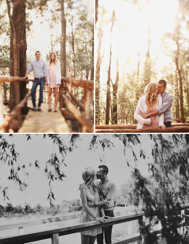engagement photos in the woods