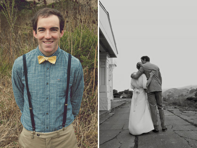 groomsmen in suspenders and bow tie