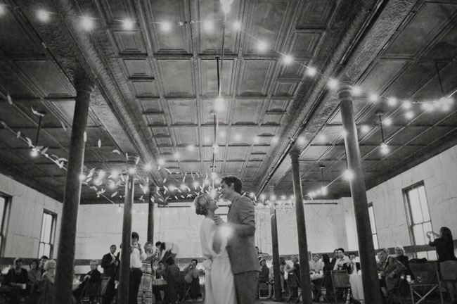 wedding dance under sparkling lights