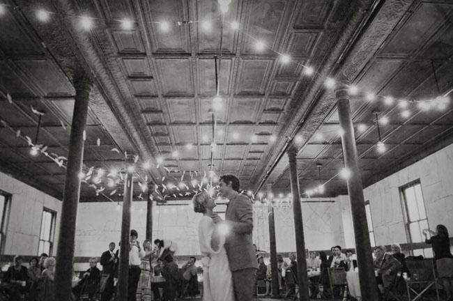 wedding dance under sparkling lights