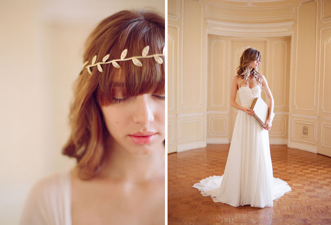 wedding crown and dress elizabeth messina