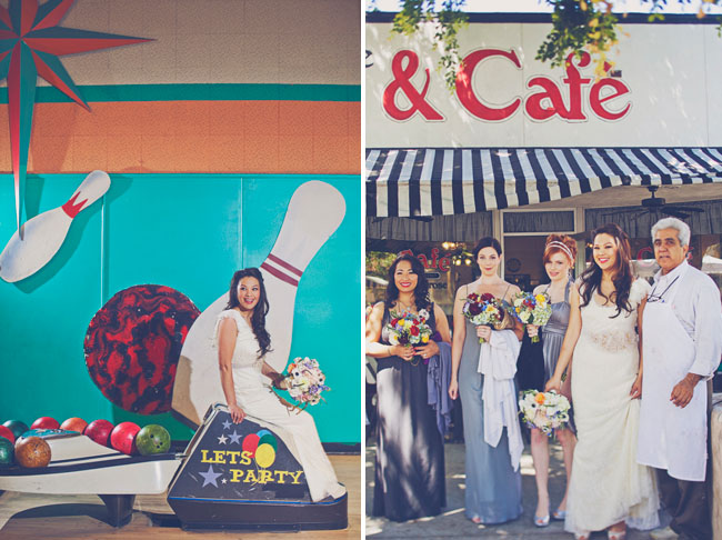 bride at a bowling alley in wedding dress