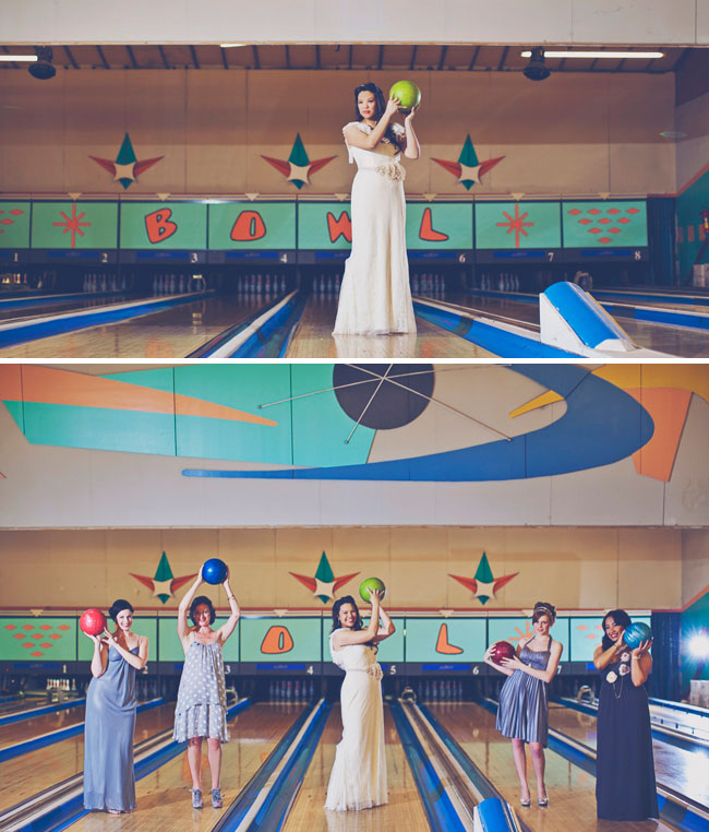 bridesmaids in bowling alley