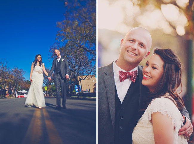 bride and groom with red bow tie