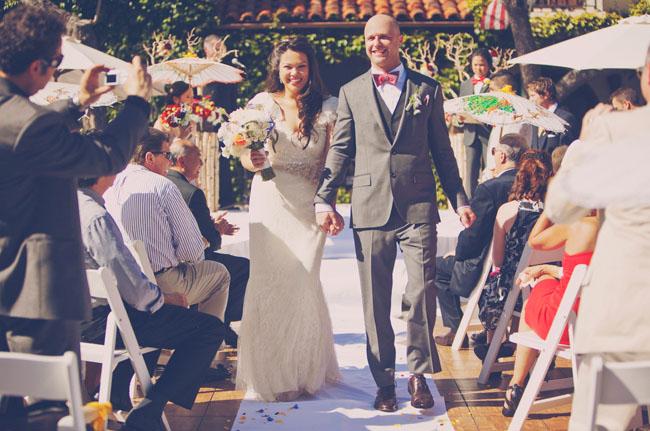 wedding exit smiling