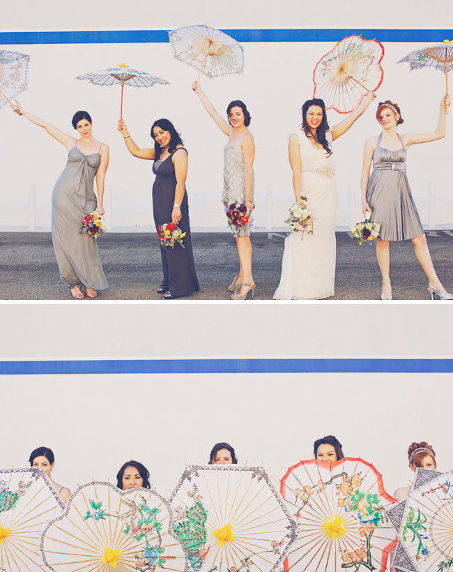 bridesmaids with parasols umbrellas