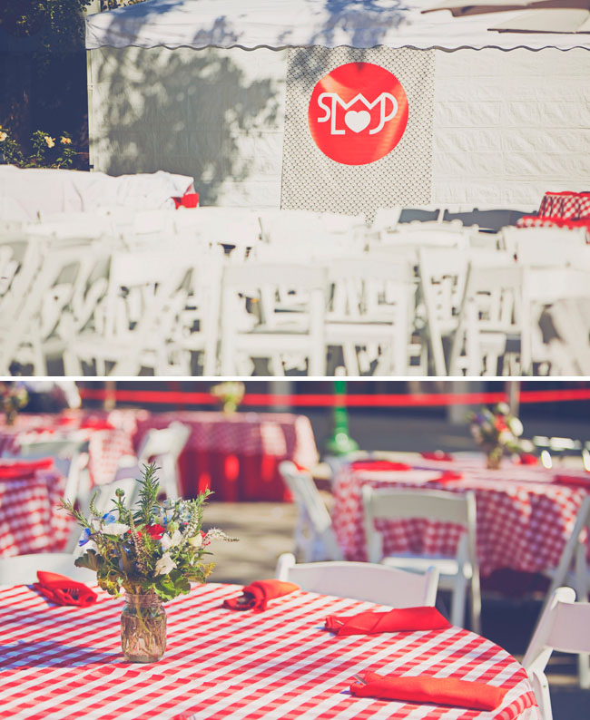 red checkers wedding reception