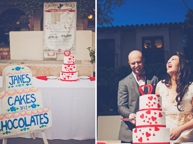 wedding cake red hearts