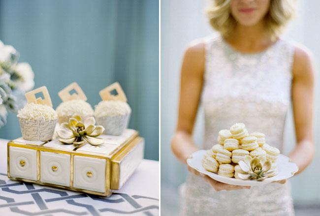 gold macarons