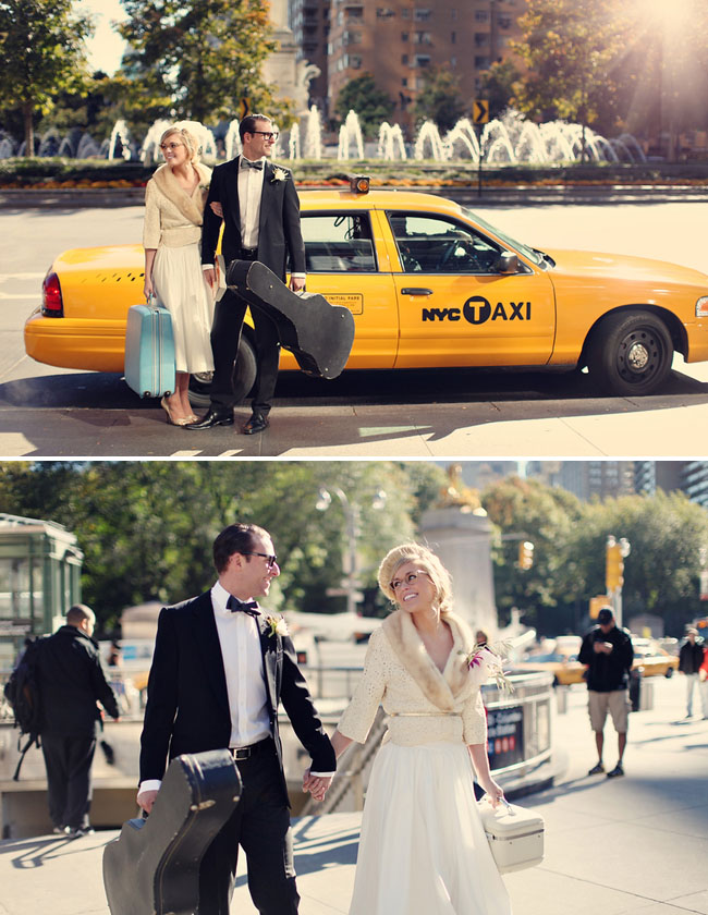 yellow taxi cab couple