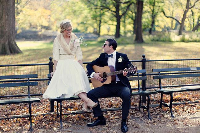 central park engagement photos guitar