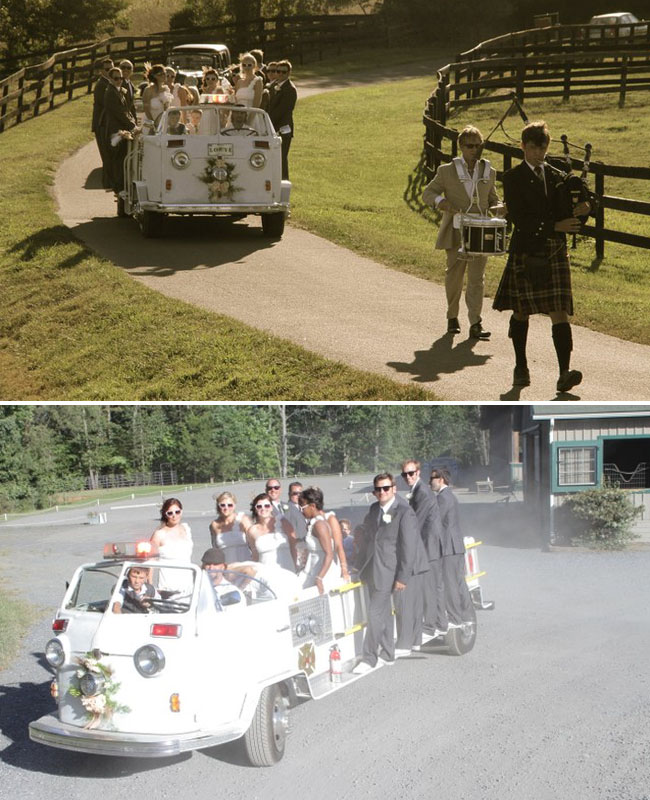 bridal party in a convertible vw bus