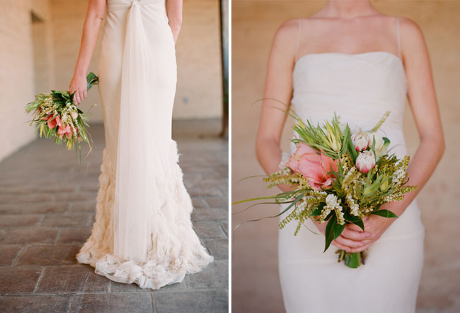 vera wang wedding dress with romantic bouquet