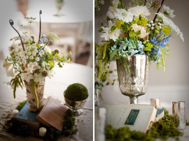metal vase and flowers