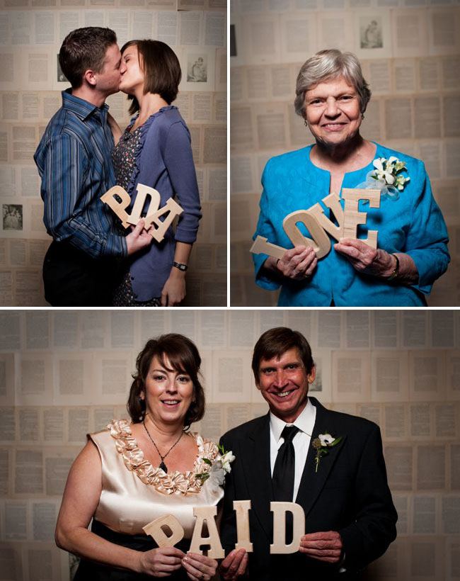 photo booth with letters
