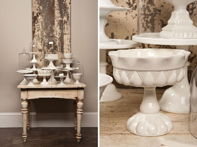 white cake stands and platters