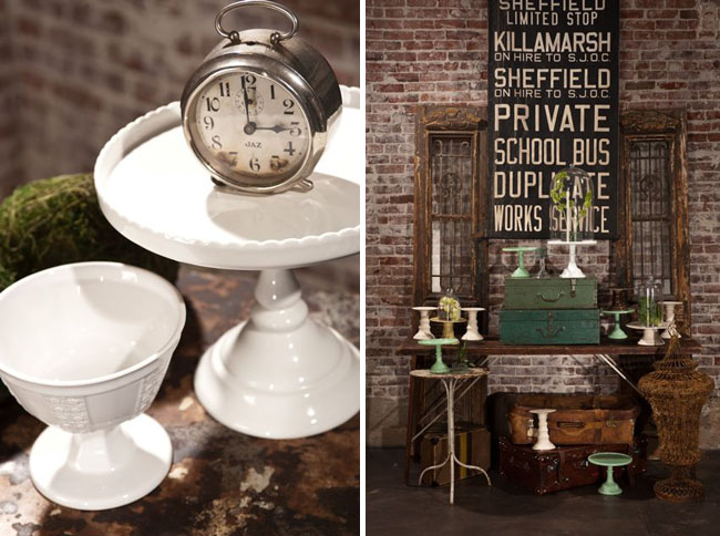 white cake stands vintage table