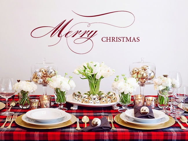 tartan christmas table