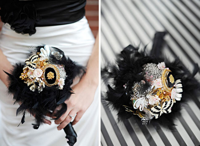 brooch and feather bouquet