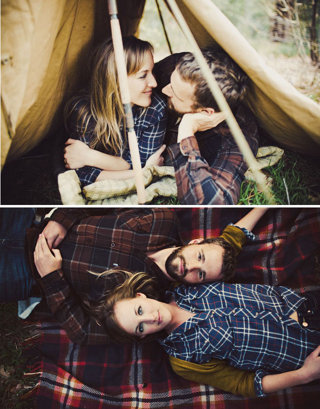 camping engagement photos