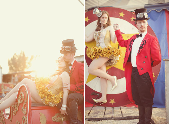 vintage circus engagement photos