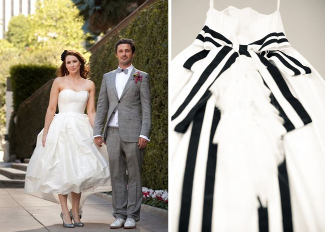 black and white ribbon wedding dress