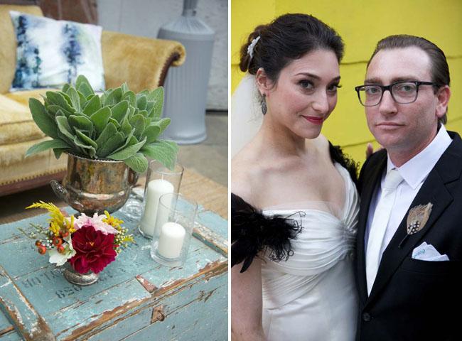 bride with vintage paris dress feathers