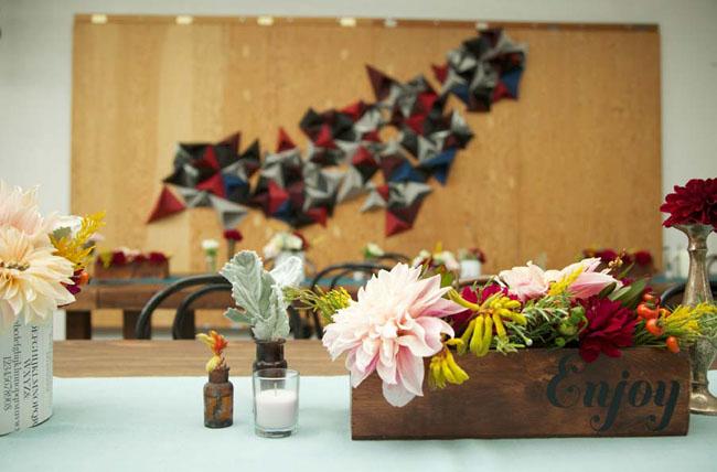 wedding reception in an art studio