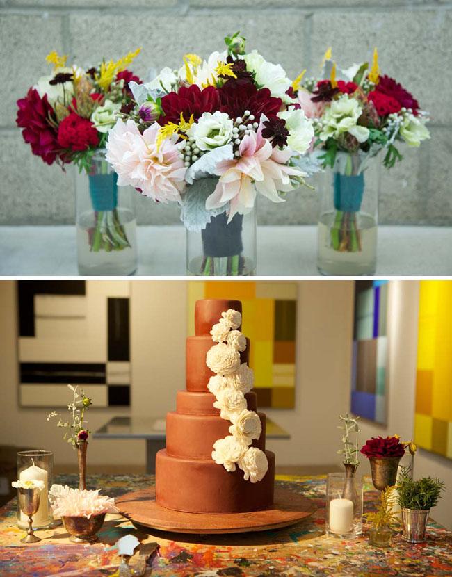wedding cake with balsa flowers