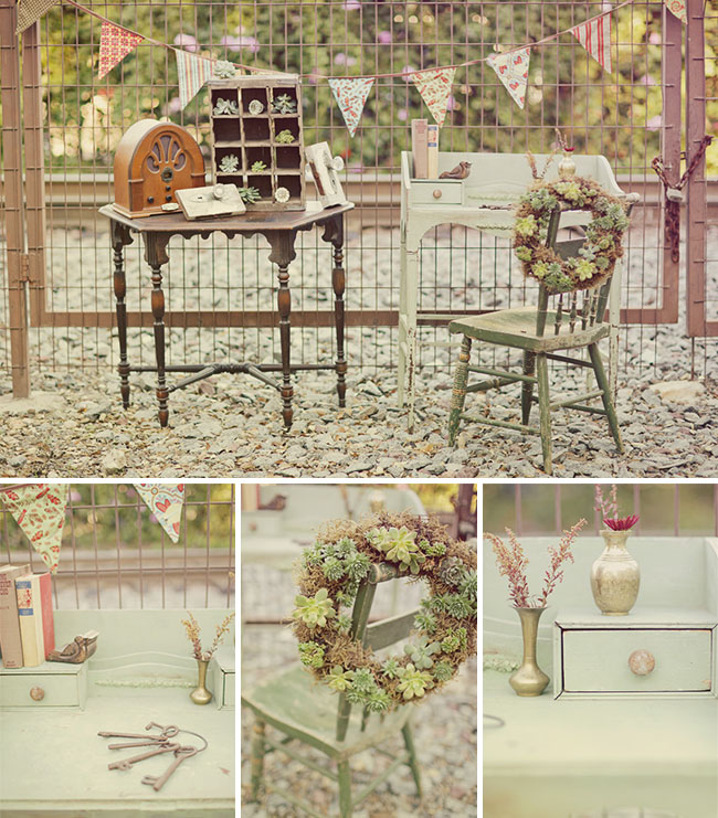 vintage table ideas with succulent wreath