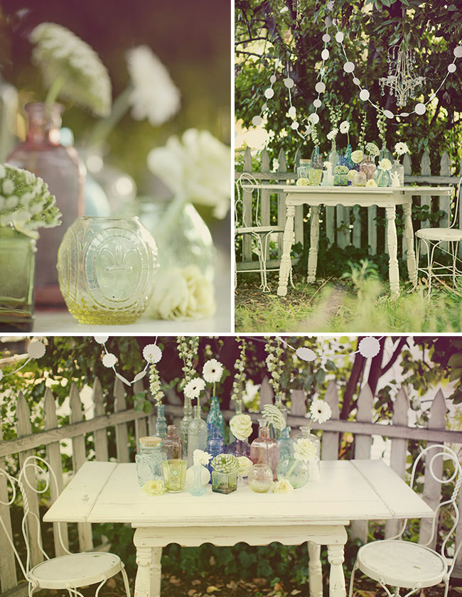 vintage glass bottles with flowers