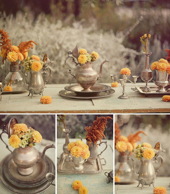 fall table ideas orange flowers