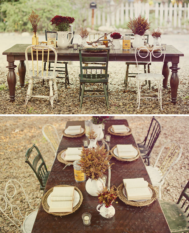 rustic table outside