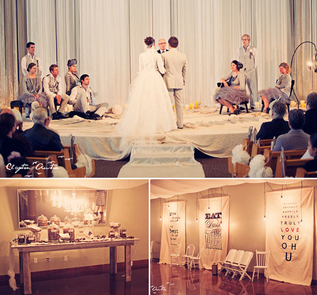 wedding with graphic banners