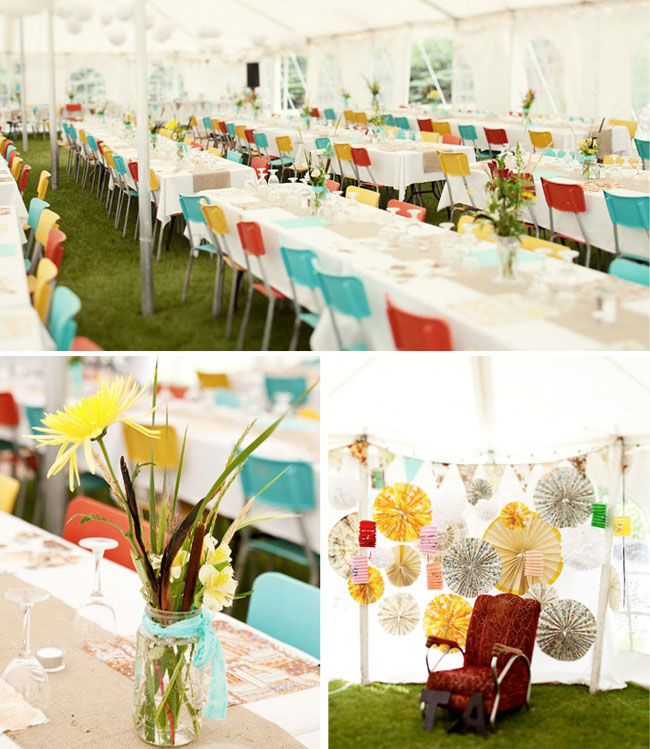 colorful reception chairs