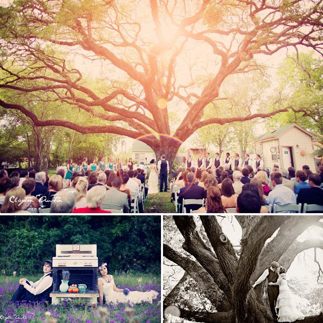 outdoor wedding under the trees